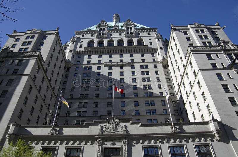 The Fairmont Hotel Vancouver. Is a historic landmark located in downtown Vancouver royalty free stock photography