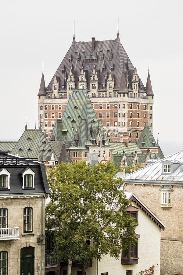 Fairmont Le Chateau Frontenac in vertical picture royalty free stock photos