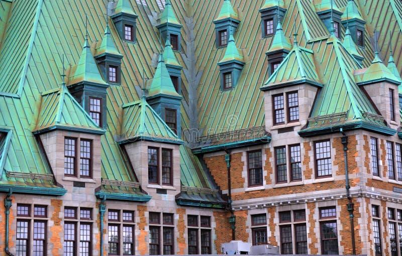 Fairmont Le Chateau Frontenc is een hotel en een oriëntatiepunt in de Oude stad van Quebec stock foto