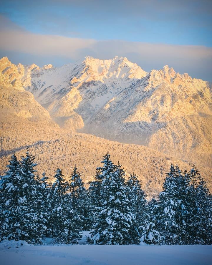 Fairmont Range in winter at sunset royalty free stock photo