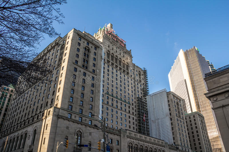 Fairmont Royal York Hotel Toronto. The Fairmont Royal York Hotel, a historic landmark in Toronto, Canada. Shot from York Street, just south of Front Street royalty free stock photography