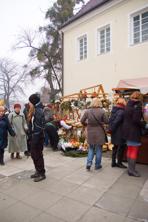 Fairs of christmas. Traditional Christmas fair at chateau in Frydek, Czech Republic royalty free stock images