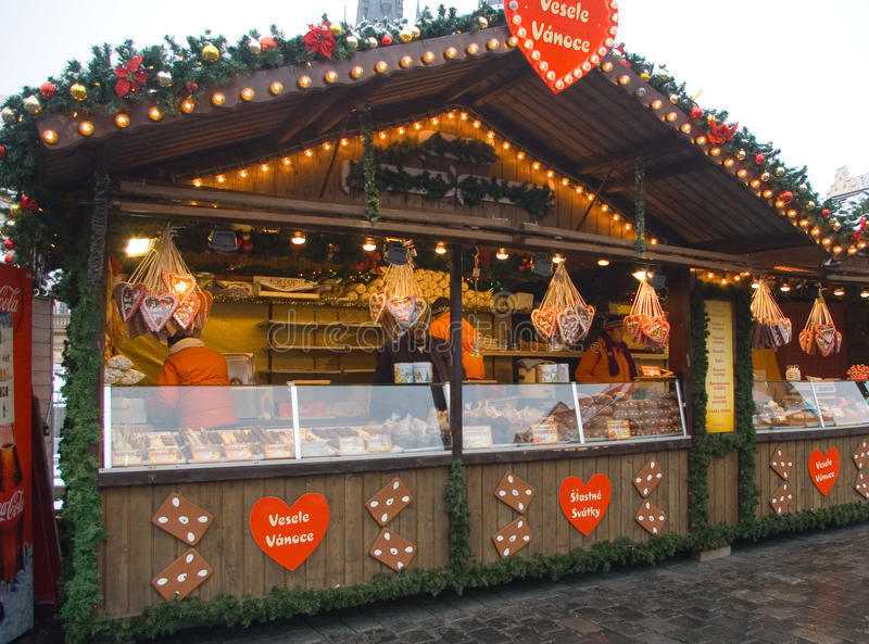 Fairs of christmas. Traditional Christmas fair at Old Town Square in Prague, Czech Republic royalty free stock image