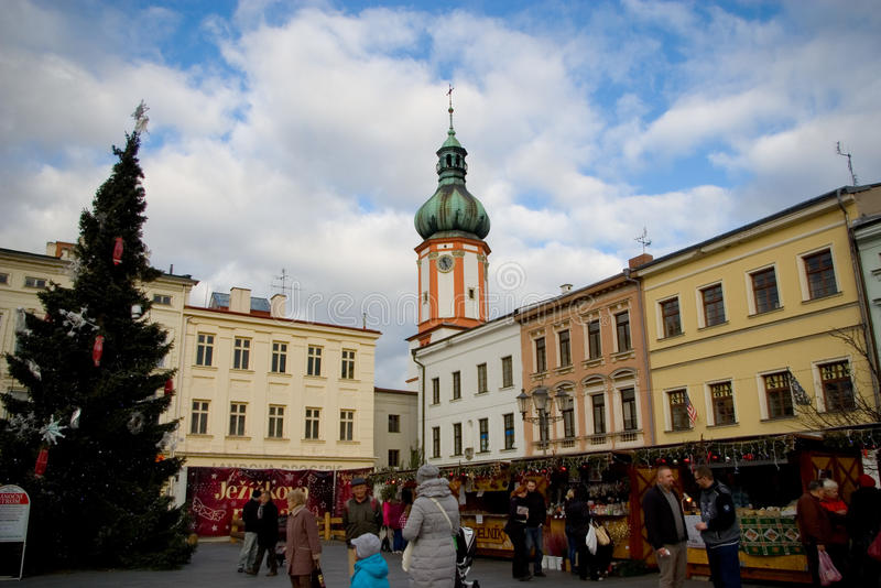 Fairs of christmas. Traditional Christmas fair at square in Mistek, Czech Republic stock photos