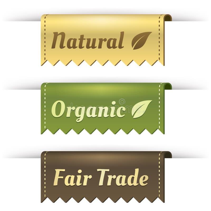 fairtrade märker den naturliga organiska stilfulla etiketten stock illustrationer
