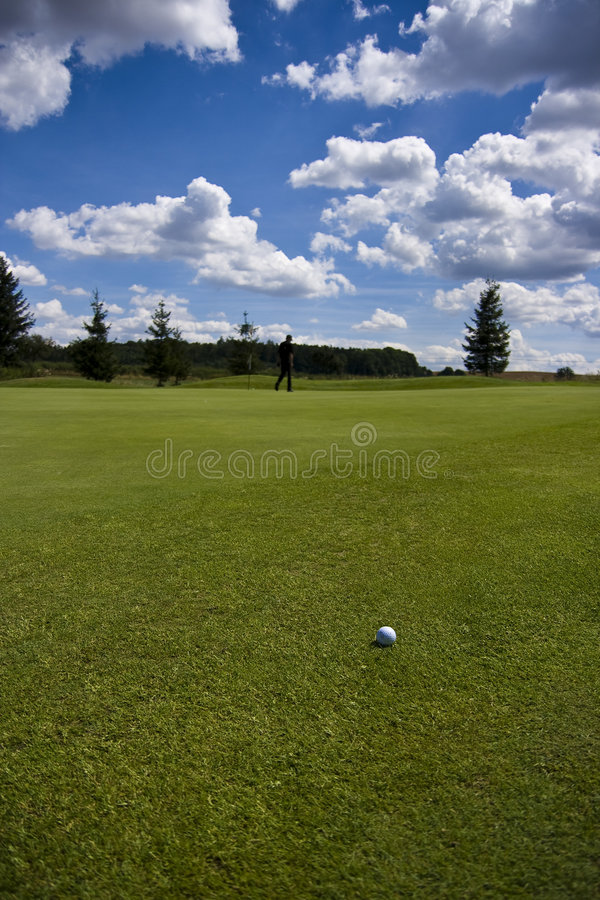 Fairway of a beautiful golf course stock images