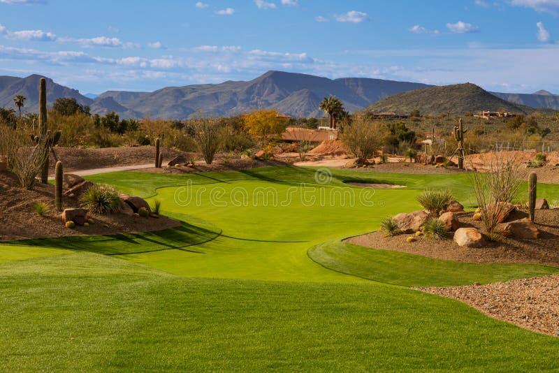 Fairway de terrain de golf de désert de l'Arizona images libres de droits