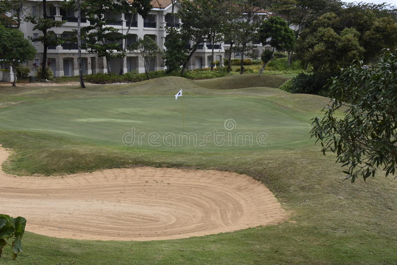 Fairways and Bluewater Golf Course. This is the 9th green on Boracays only golf course, Fairways and Bluewater stock photo