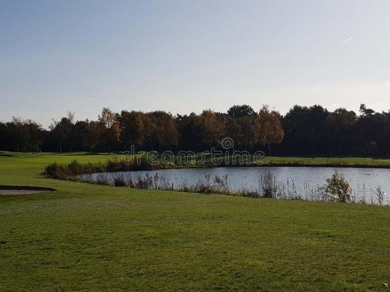 Fairways e verdes do campo de golfe do golfe foto de stock