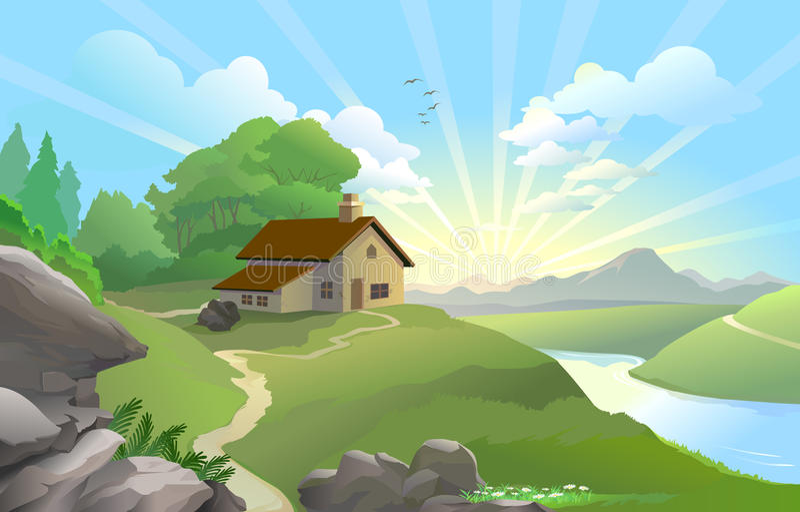 fairy восход солнца земли иллюстрация штока