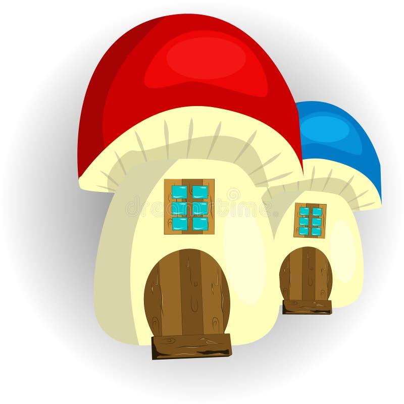 Fairy гриб дома на белой предпосылке иллюстрация штока