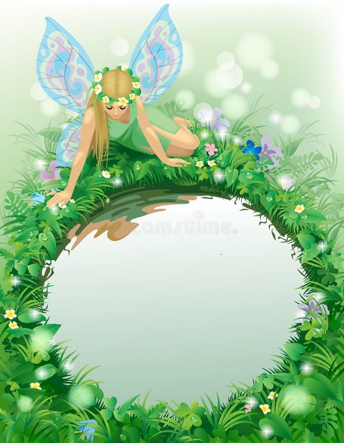 Fairy девушка при голубые крыла усаженные около круглого пруда граничила b иллюстрация штока