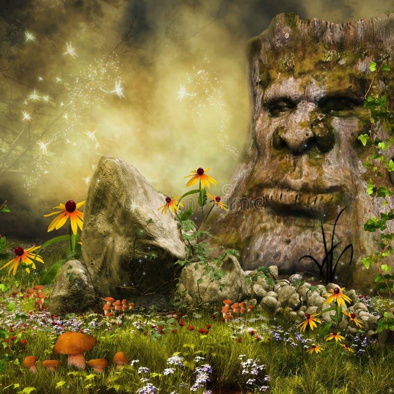 Fairy дерево, цветки и грибы иллюстрация штока