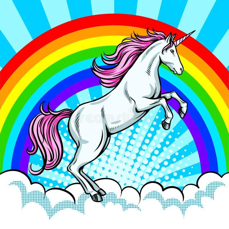 Fairy животный вектор искусства шипучки единорога и радуги иллюстрация вектора