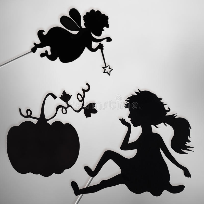 Fairy кума, Золушка и тыква затеняют марионеток иллюстрация вектора