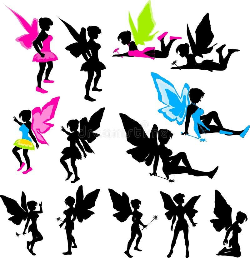 fairy неоновые силуэты иллюстрация вектора