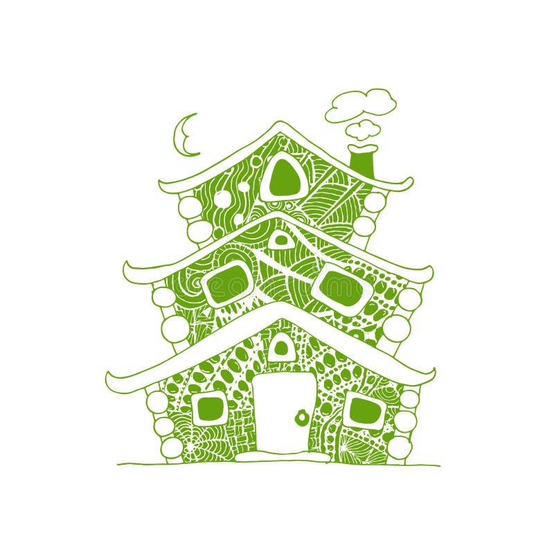 Fairy дом, эскиз для вашего дизайна бесплатная иллюстрация