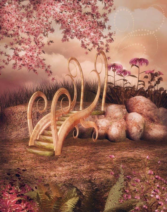 Fairy сад с мостом бесплатная иллюстрация
