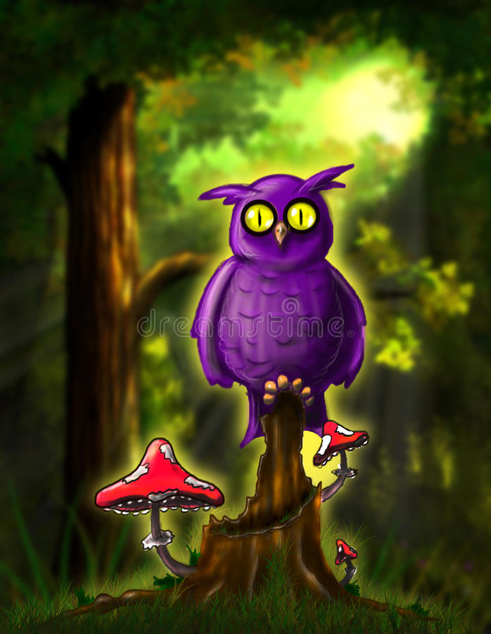 Fairy сыч в лесе бесплатная иллюстрация