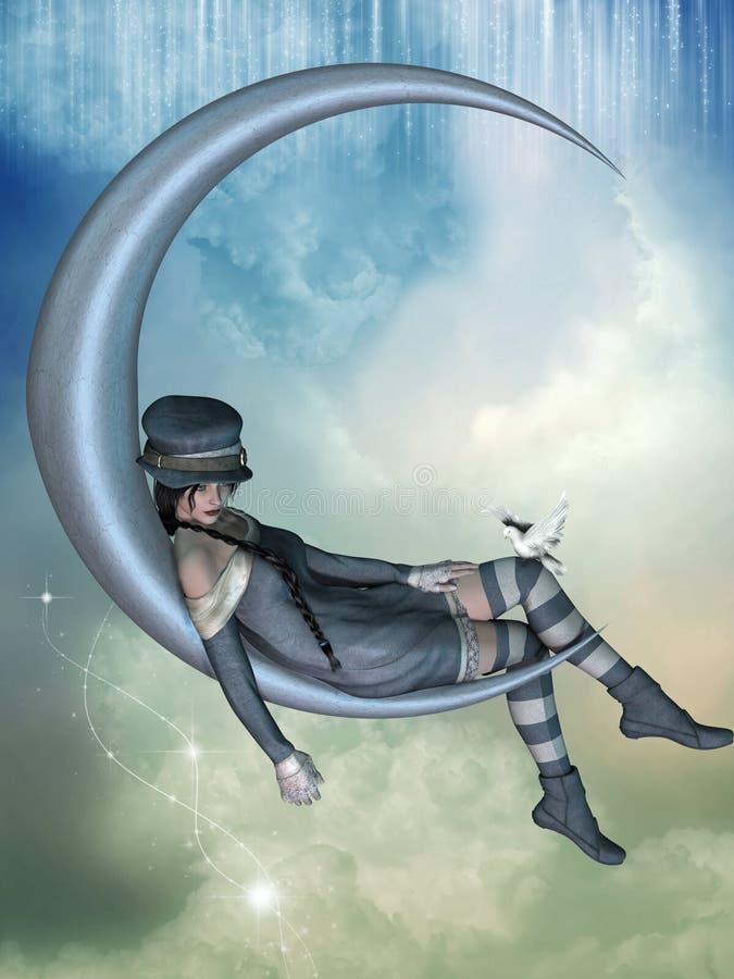 fairy луна иллюстрация вектора