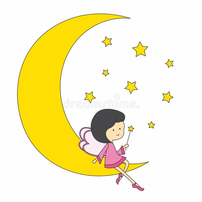 fairy усаживание луны бесплатная иллюстрация