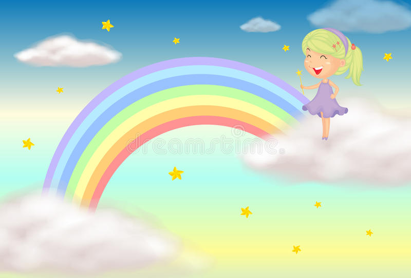 Download A fairy stock vector. Image of rainbow, stars, brown - 28723716