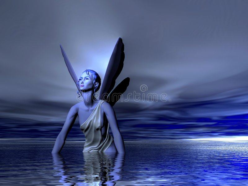 Fairy. Blue fairy bathing in the Ocean or Sea royalty free illustration