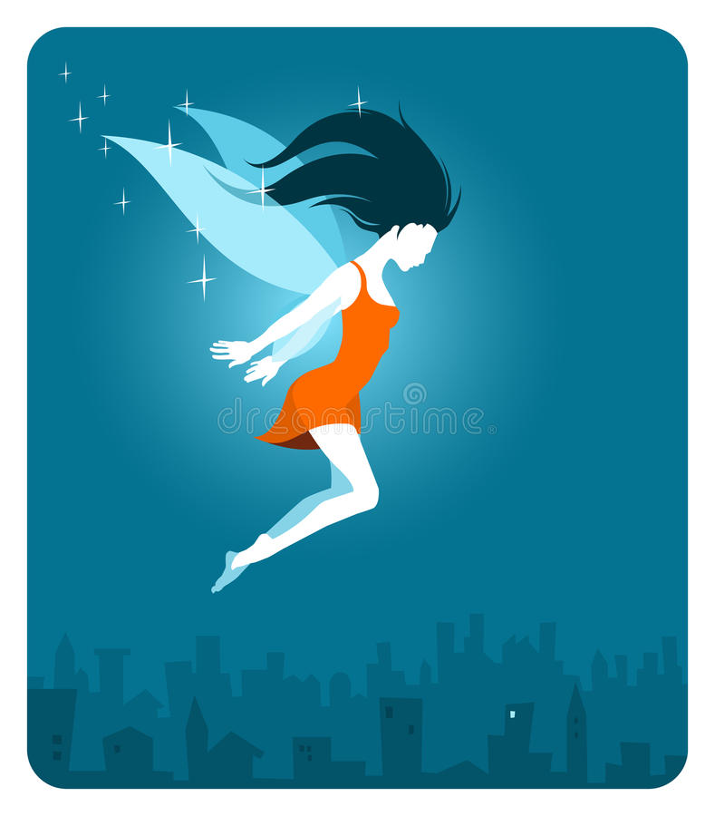 Download Fairy above the city stock illustration. Image of flying - 16050058