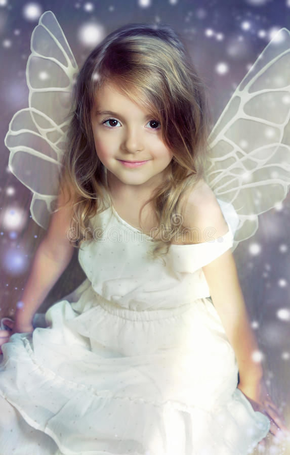 Fairy angel child with wings. stock image