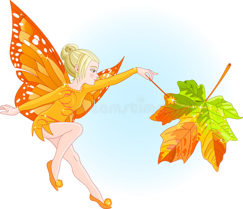 Fairy Autumn. A young fairy with a magic wand coloring autumn leaf. All objects are separate groups stock illustration