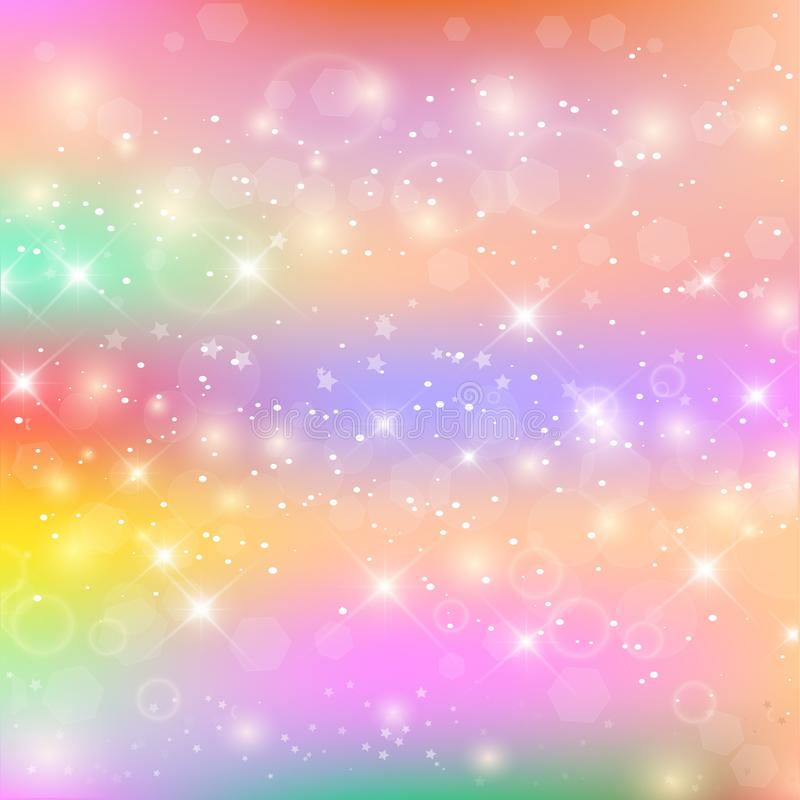 Fairy Baby Girl Background with Rainbow Mesh stock illustration