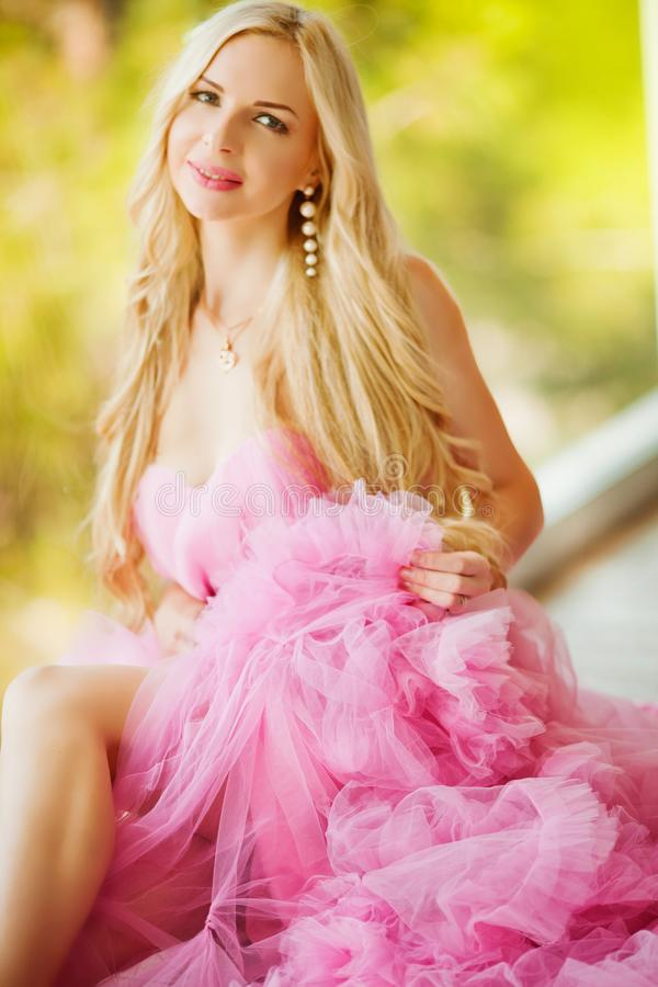 Fairy. Beautiful Girl in Blowing Dress Flying. Magic royalty free stock images