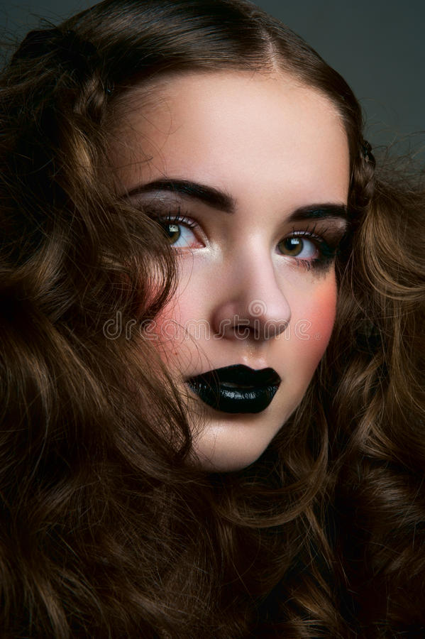 Fairy beauty female with curls royalty free stock image