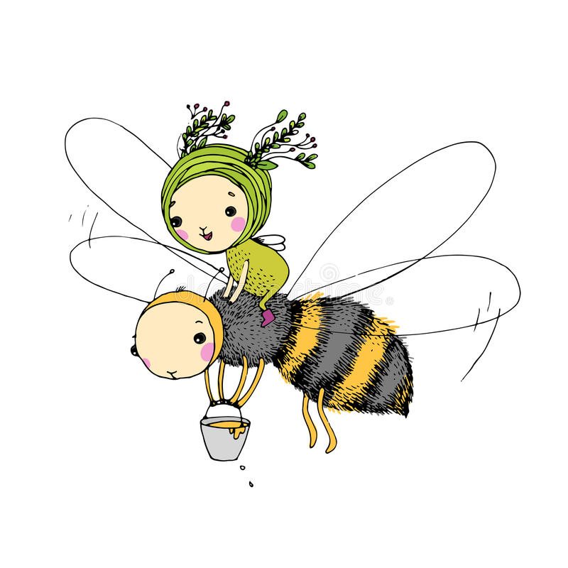 Fairy and the bee on a white background. Hand drawn vector vector illustration