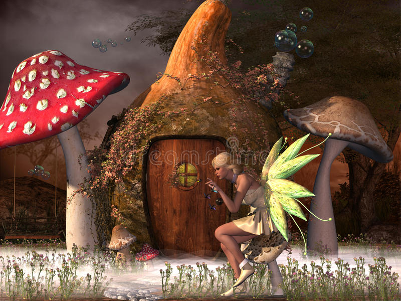 Fairy Belle. Plays with glowflies outside her gourd home in the magical forest stock illustration