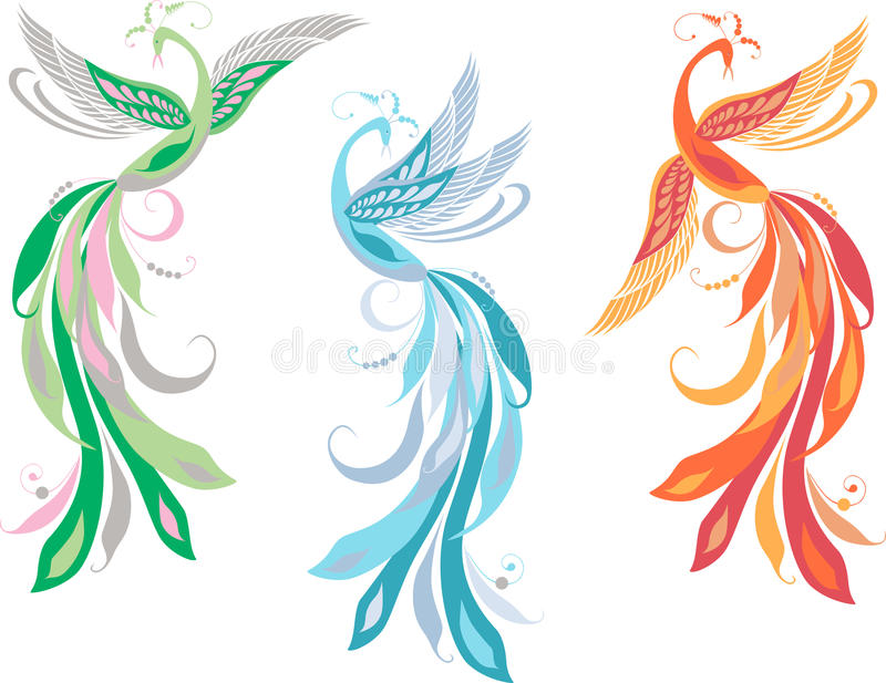 Fairy birds. Vector image of the flying fabulous birds vector illustration