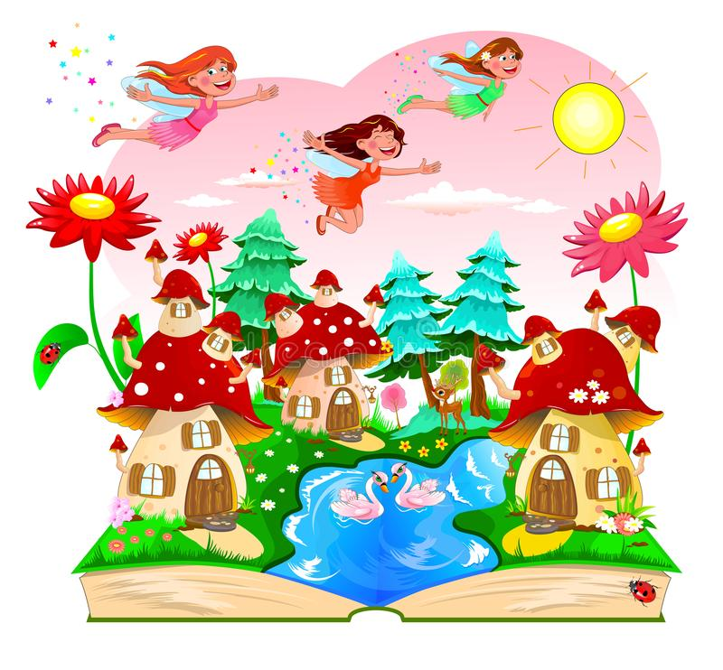 Fairy, book, mushroom house, river, forest royalty free illustration