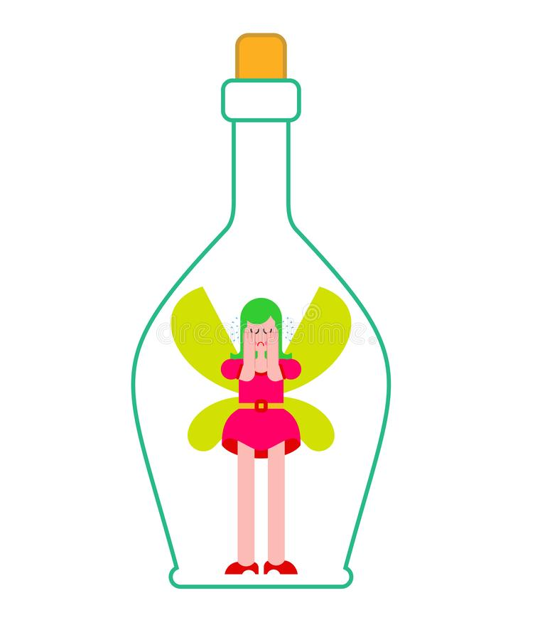 Fairy in bottle. Little magical woman captive in jar. Tiny creature with wings. Flying Mythical fabulous character and magic wand vector illustration