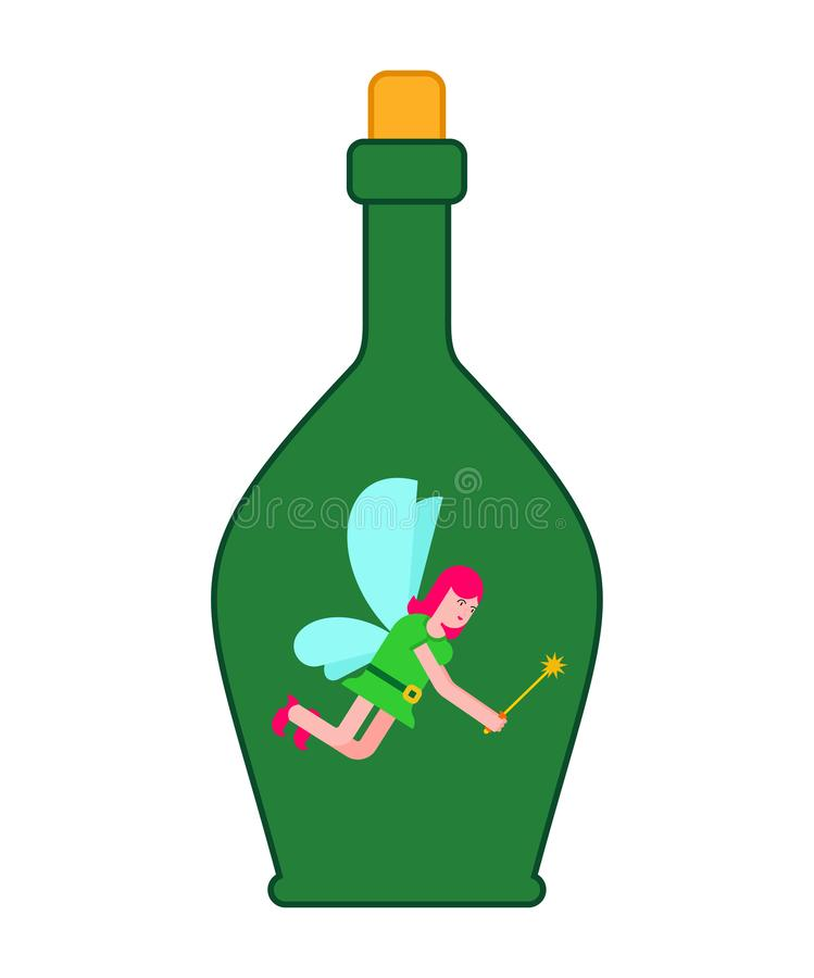 Fairy in bottle. Little magical woman captive in jar. Tiny creature with wings. Flying Mythical fabulous character and magic wand stock illustration