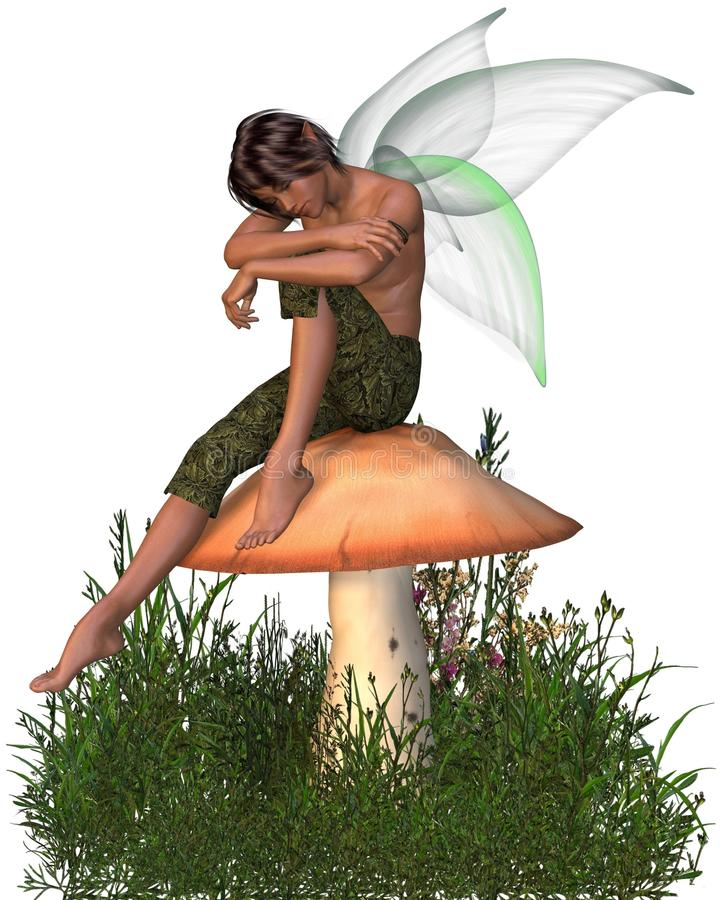 Download Fairy Boy Sitting On A Toadstool Stock Photography - Image: 23440862