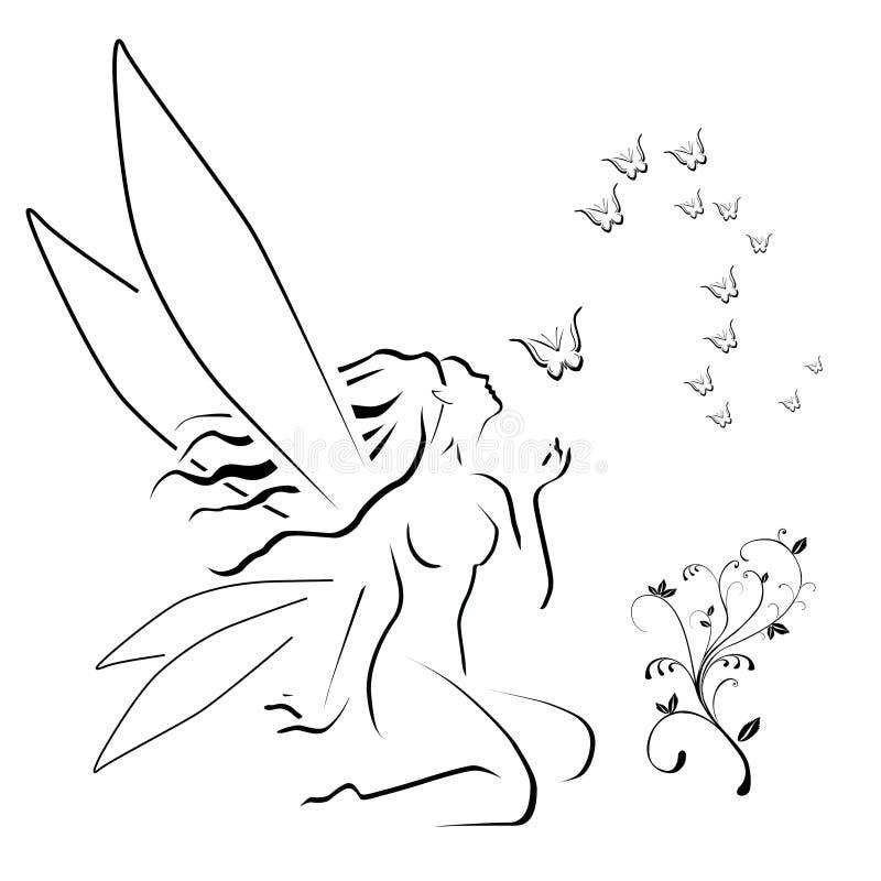 Fairy and butterflies stock illustration