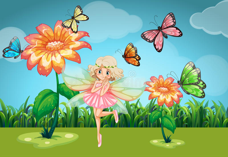 Fairy and butterflies in the garden. Illustration vector illustration