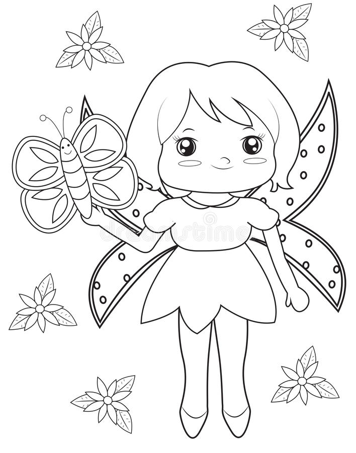 Fairy And Butterfly Coloring Page Stock Illustration - Illustration ...