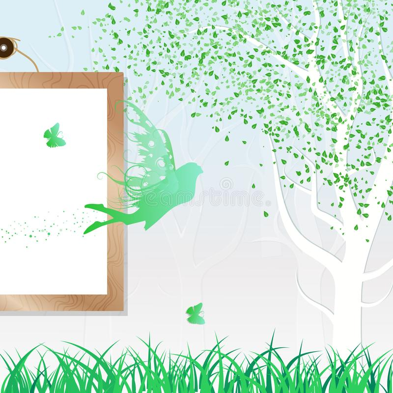 Fairy, butterfly and nature leaves falling scatter green fresh c. Oncept abstract background with wooden frame vector illustration royalty free illustration