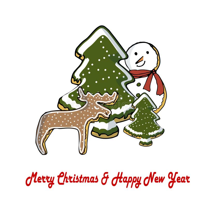 Fairy cartoons cute christmas ginger cookies forest brown deer, snowman, green christmas tree in white snow stock illustration