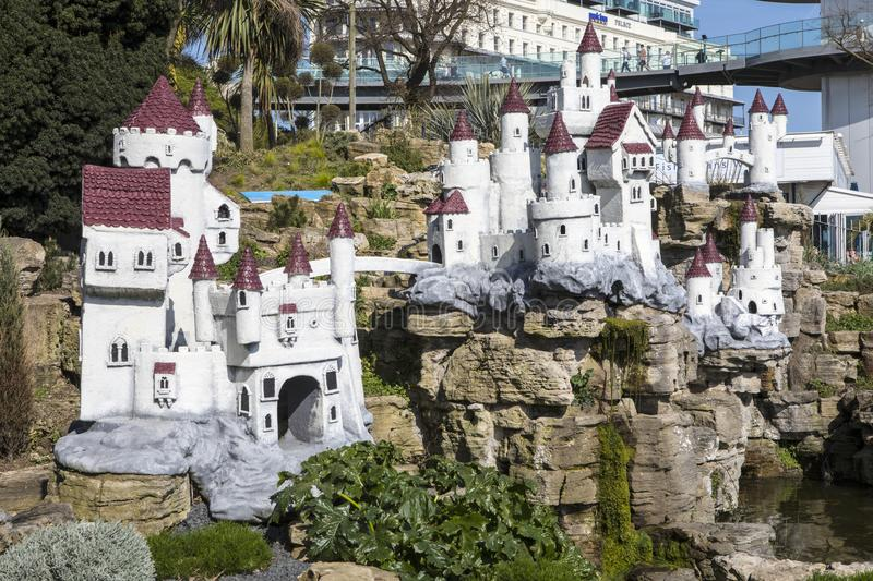 Fairy Castle in Southend-on-Sea. SOUTHEND-ON-SEA, ESSEX - APRIL 18TH 2018: The Fairy Castle in the Southend Cliff Gardens in Southend-on-Sea, Essex, UK, on 18th stock photography