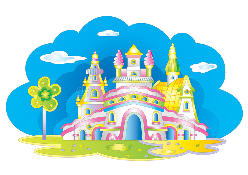 Fairy children`s castle stock photo