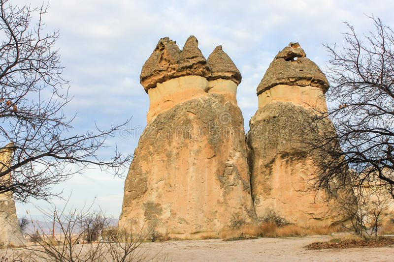 Fairy Chimneys in Cappadocia, Turkey stock photography