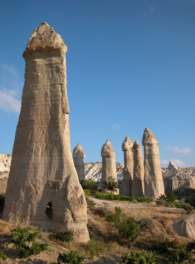 Fairy chimneys of Cappadocia, Turkey stock photos