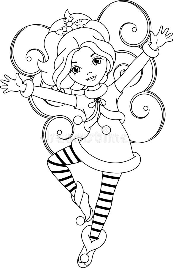 Fairy christmas coloring page stock vector illustration for Christmas fairy coloring pages